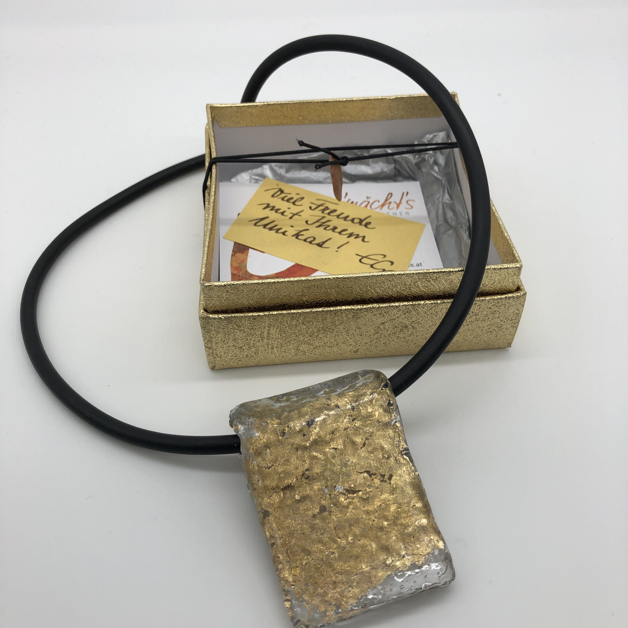 Anhänger Kunststoffgranulat gold Blattmetall - beidseitig tragbar 25175