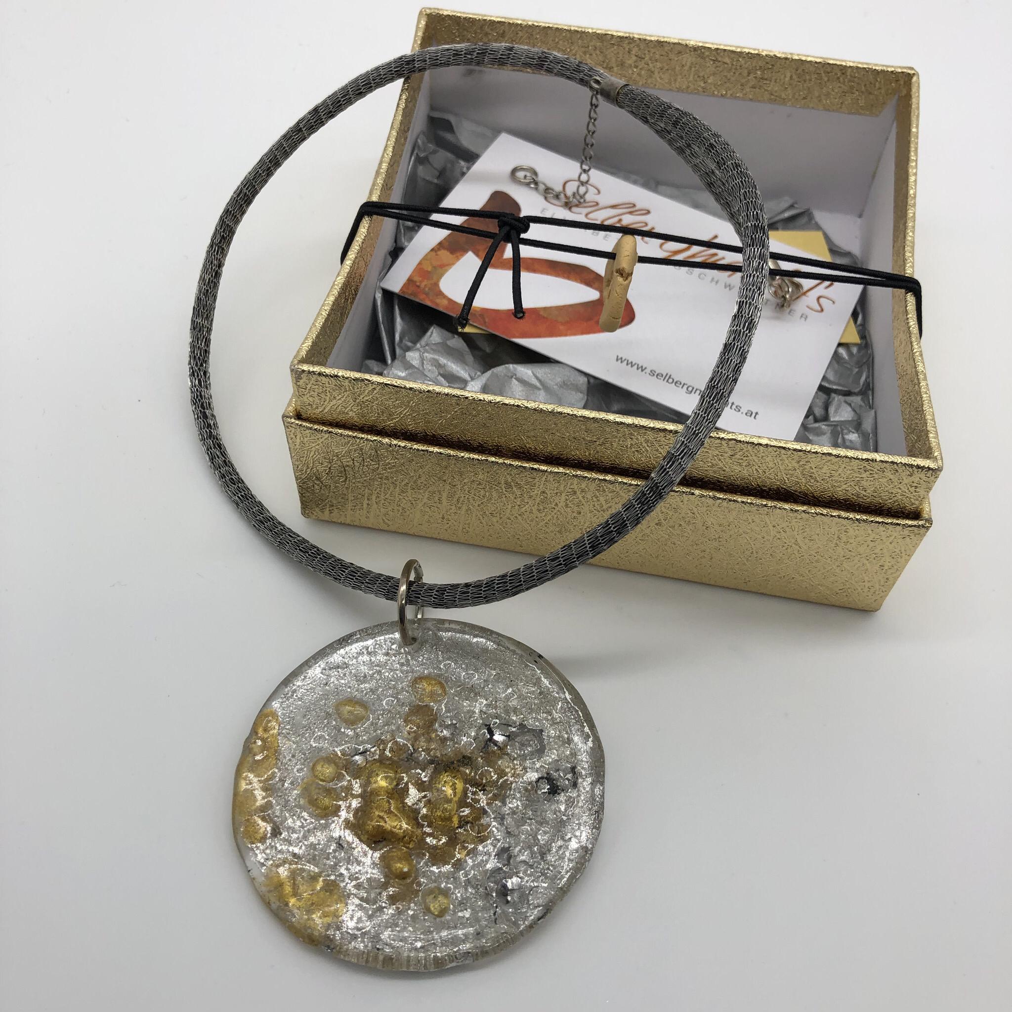 Anhänger Kunststoffgranulat silber/gold Blattmetall - beidseitig tragbar 25176