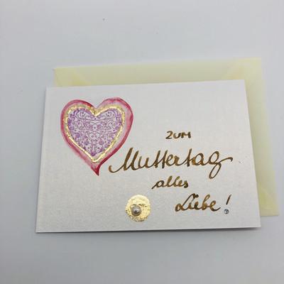 """Billett """"handmade"""" klein - Zum Muttertag alles Liebe!"""