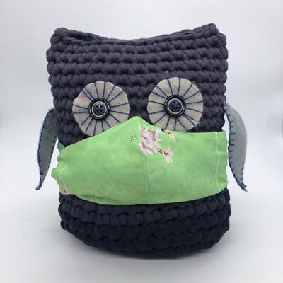 MNS (Mund-Nasen-Schutz Maske) - grün mit Blütenmotiv und Strass