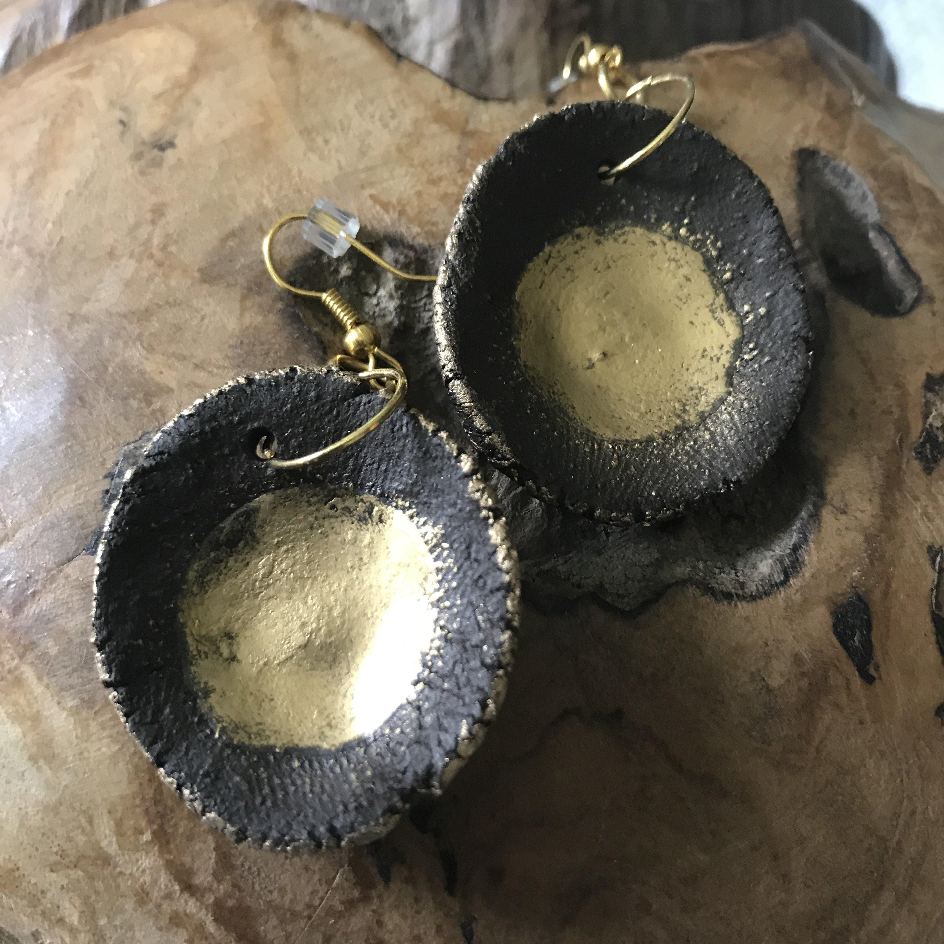 Ohrhänger Keramik braun/gold - beidseitig tragbar 00009