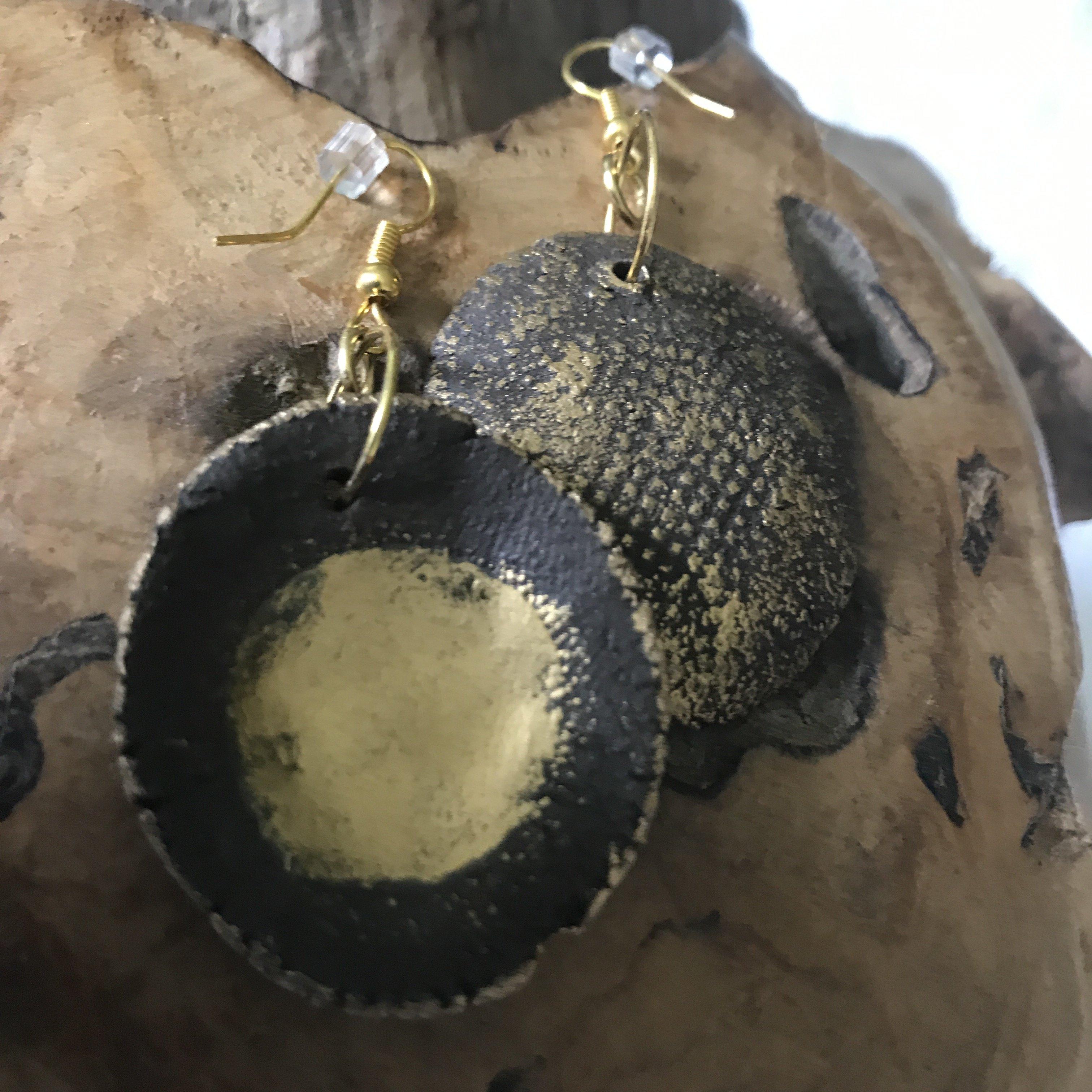 Ohrhänger Keramik braun/gold - beidseitig tragbar