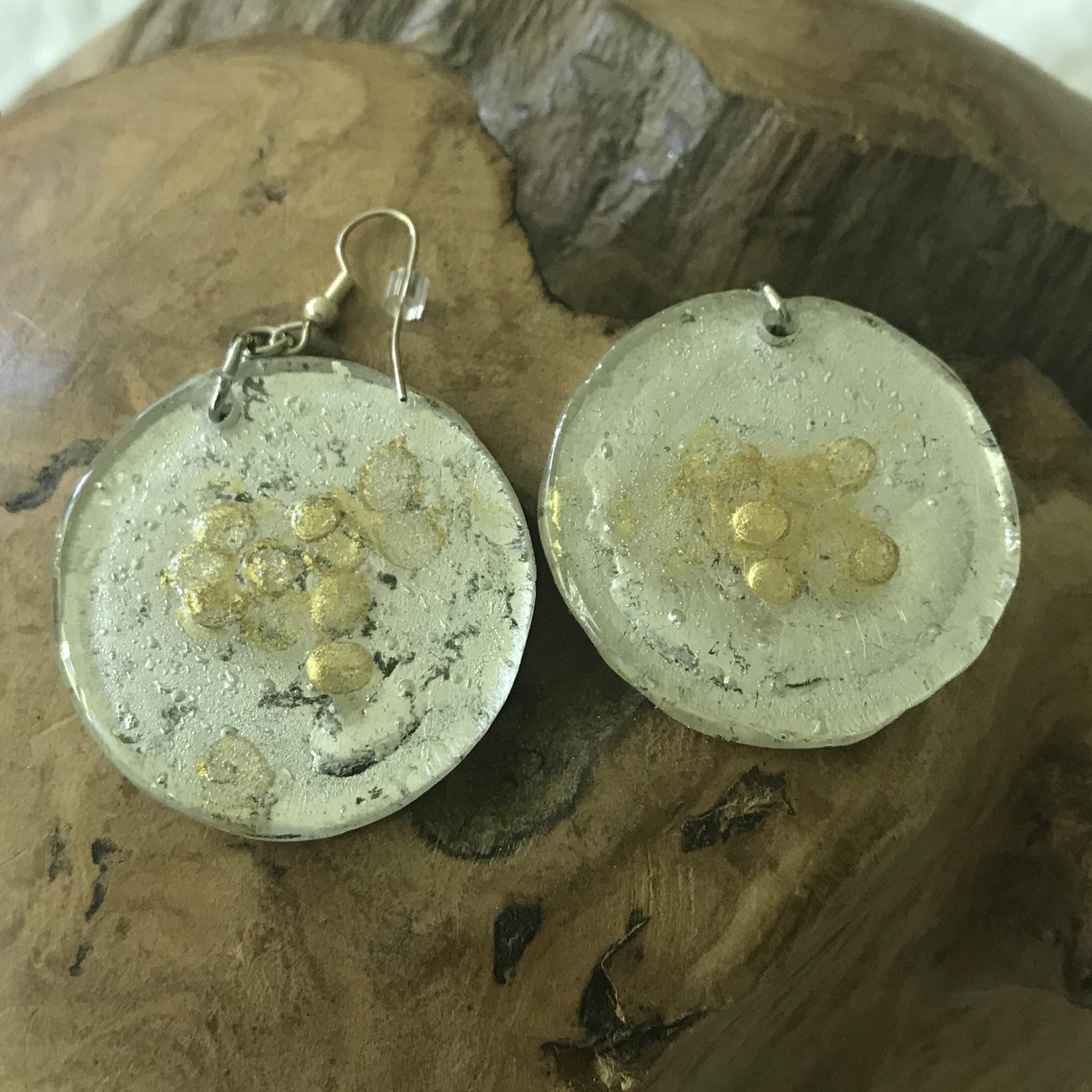 Ohrhänger silber/gold - Rückseite mit Perle - beidseitig tragbar 00038