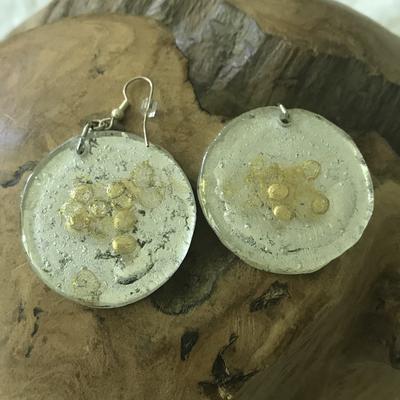 Ohrhänger silber/gold - Rückseite mit Perle - beidseitig tragbar