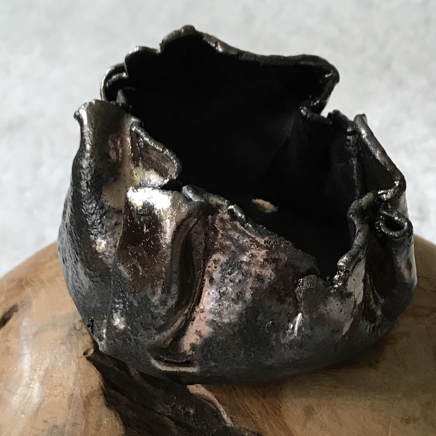 Keramikschale/Windlicht braun mit Metallglanz 00057