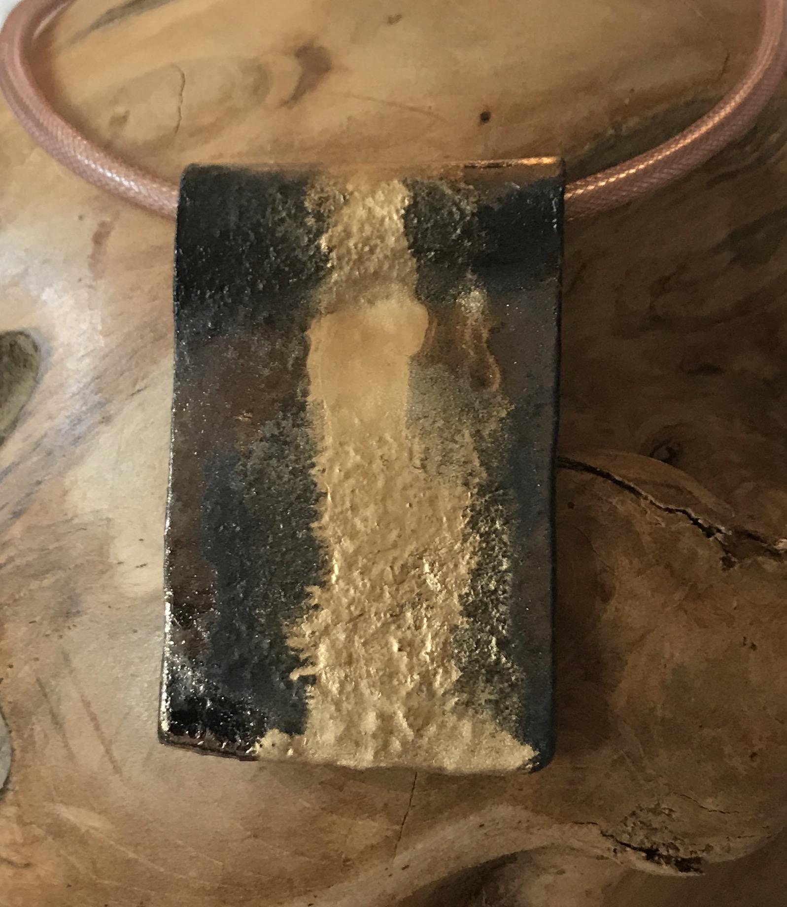Anhänger Keramik braun metallic/gold 00071