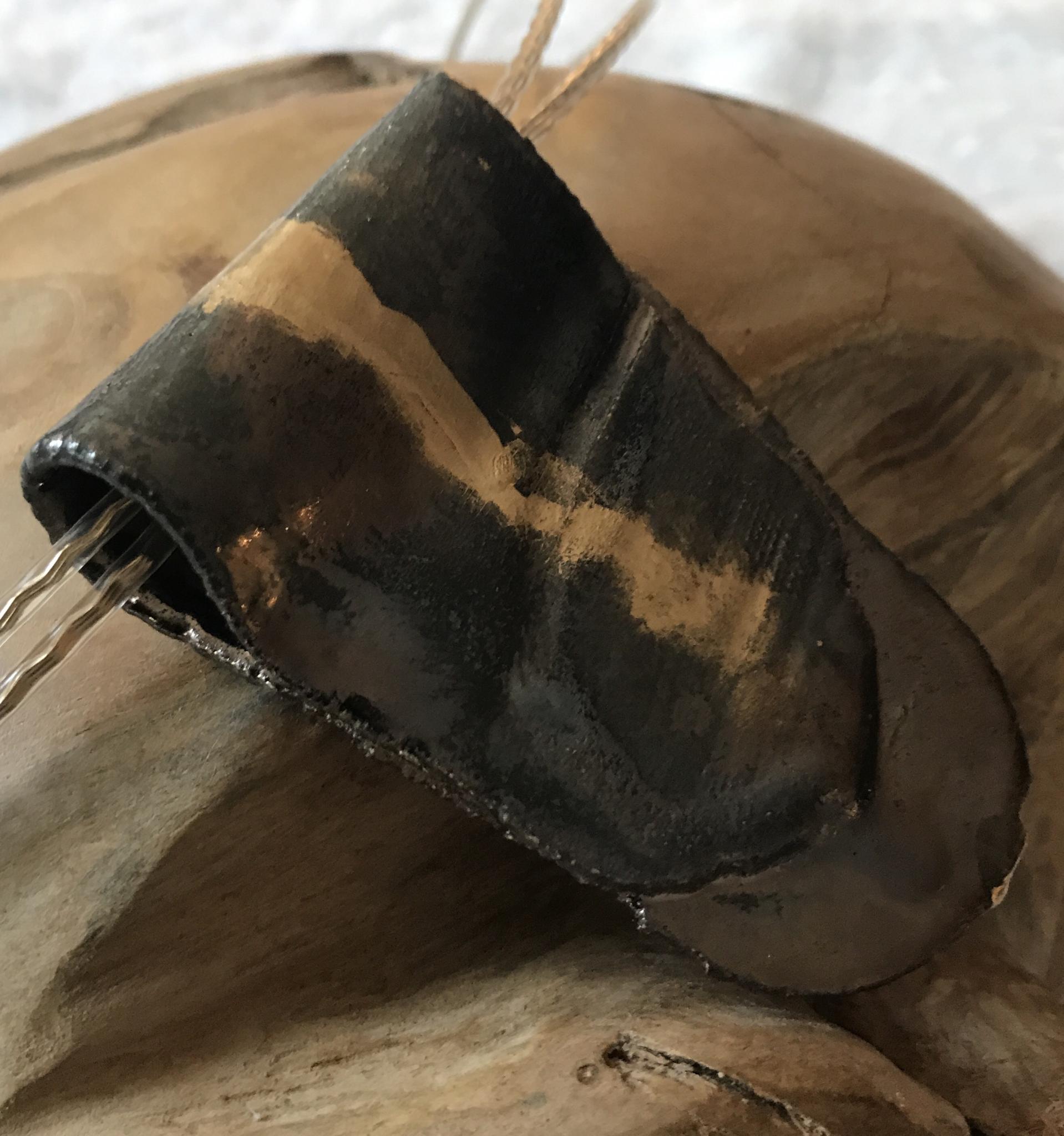 Anhänger Keramik braun-metallic/gold 00073