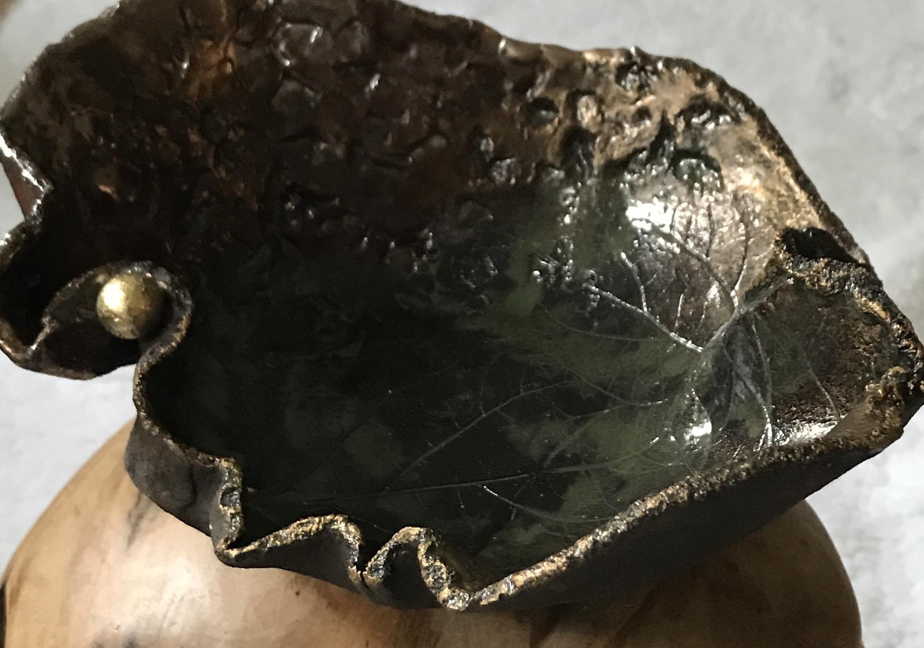 Keramikschale braun/gold