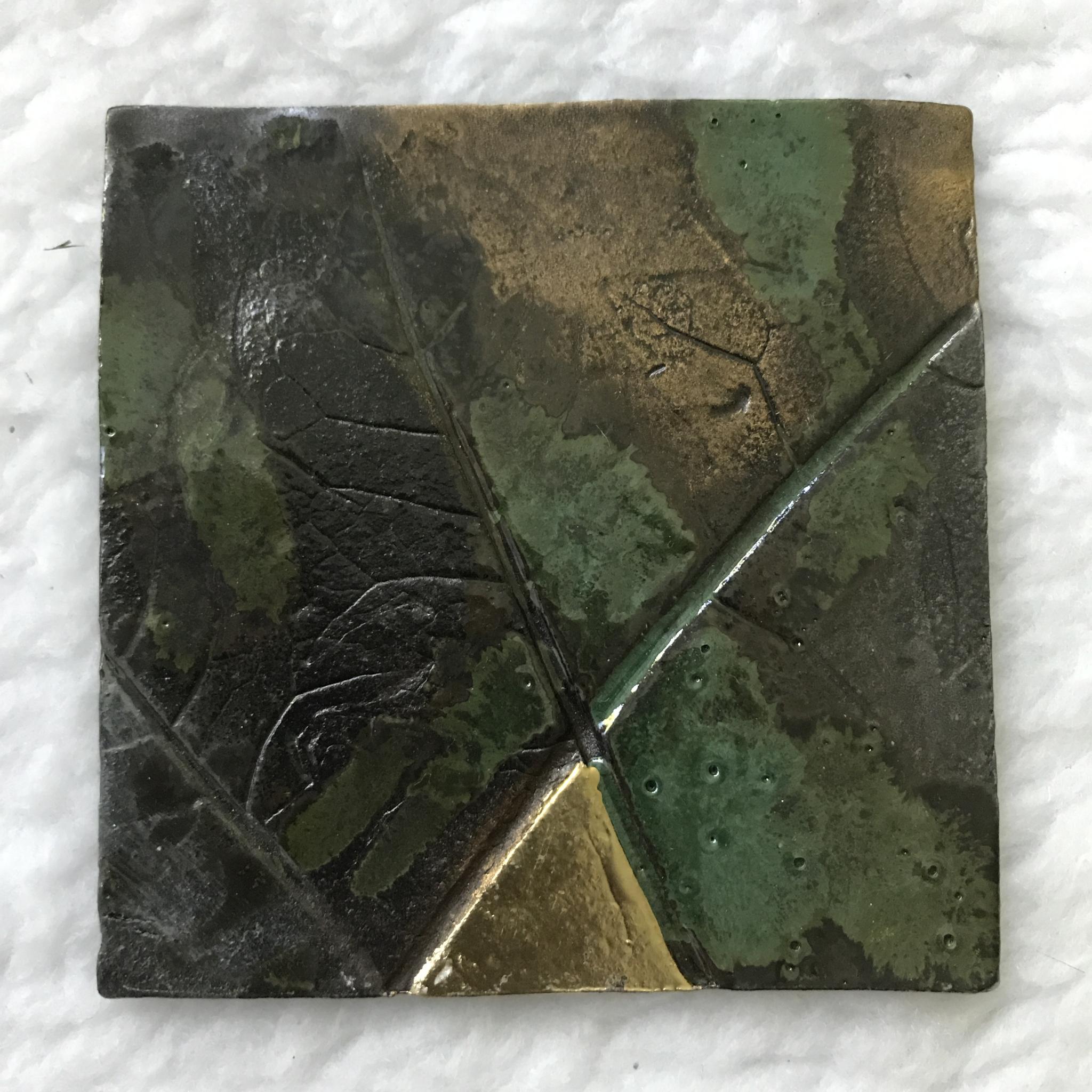 Kerzenteller braun/grün/gold 00143