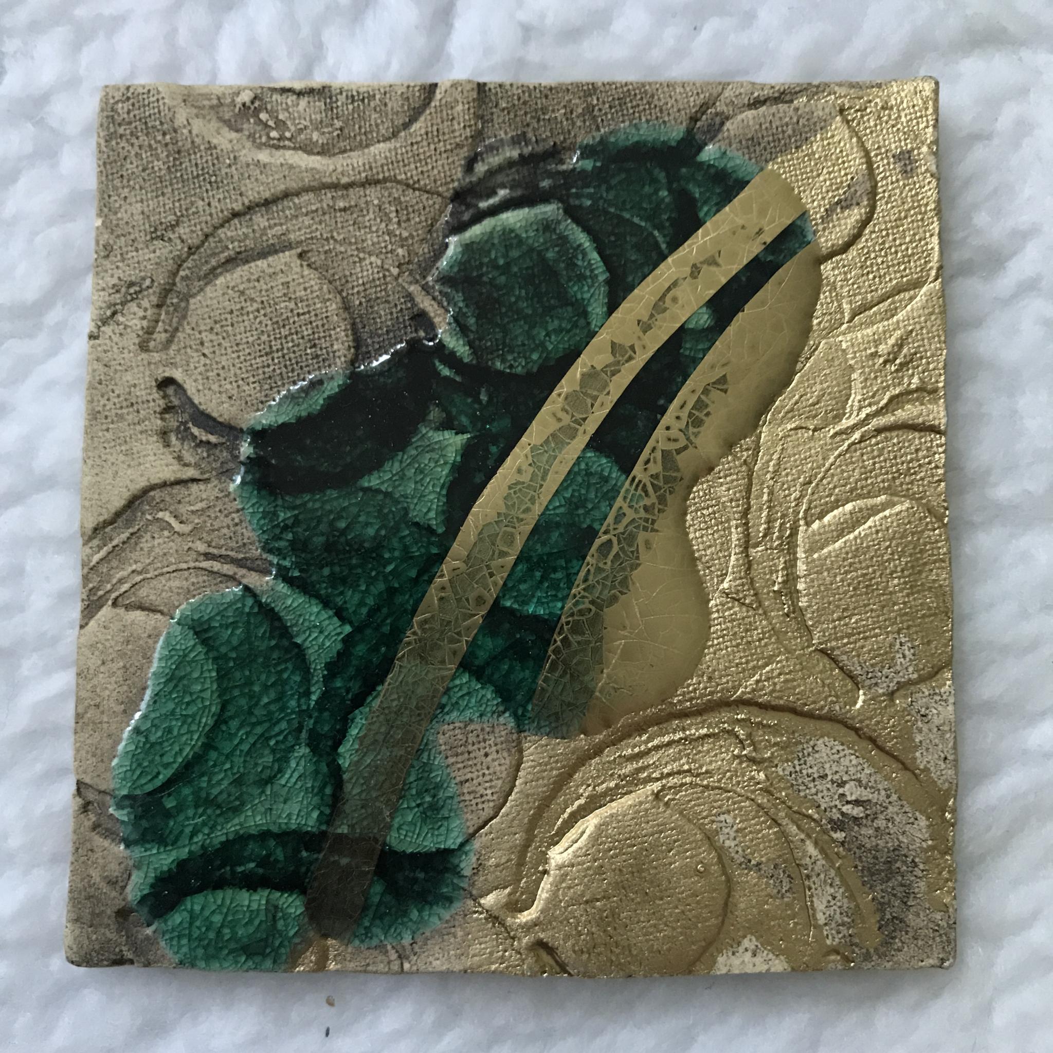 Kerzenteller grün/gold 00153