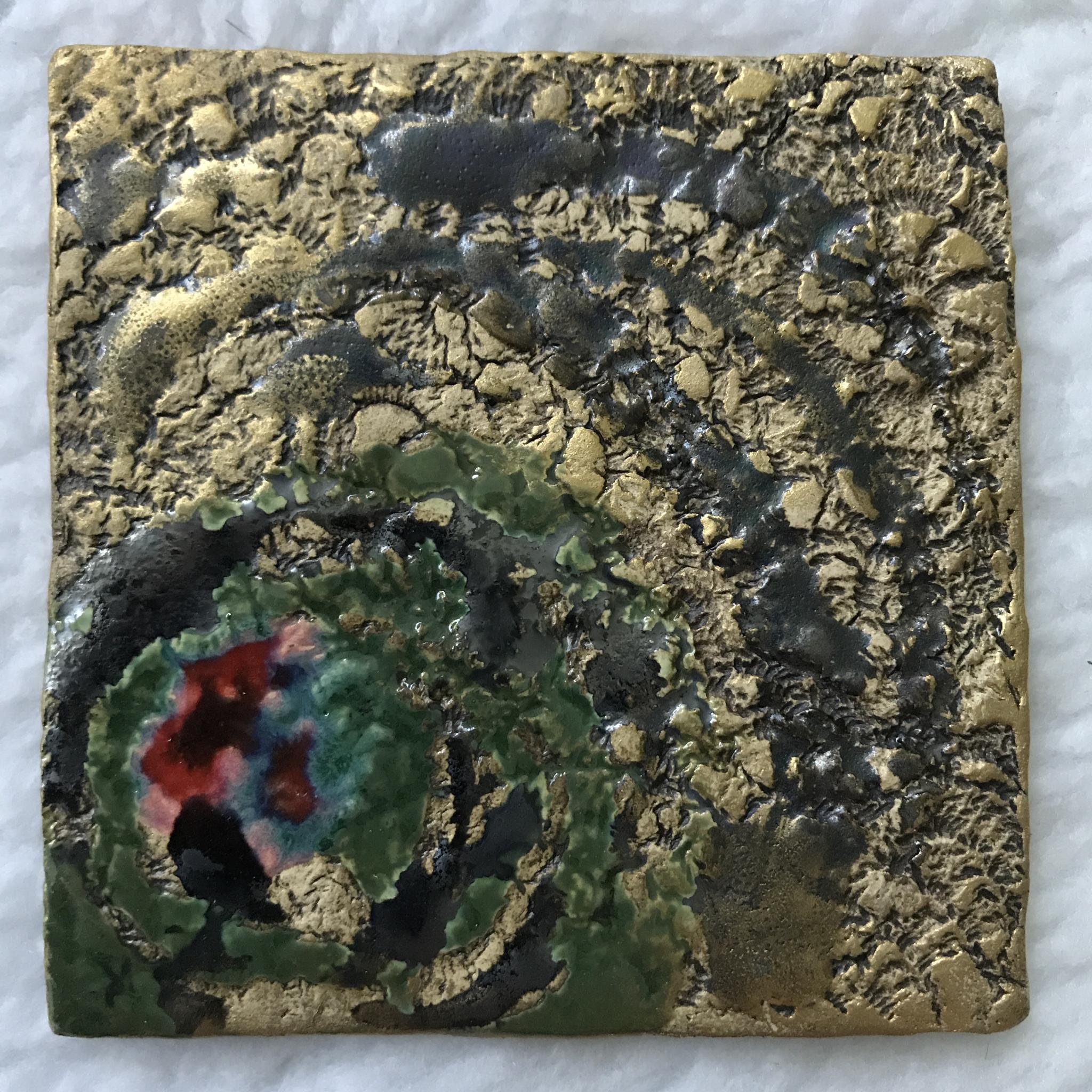 Kerzenteller bunt/Braunstein/gold 00154