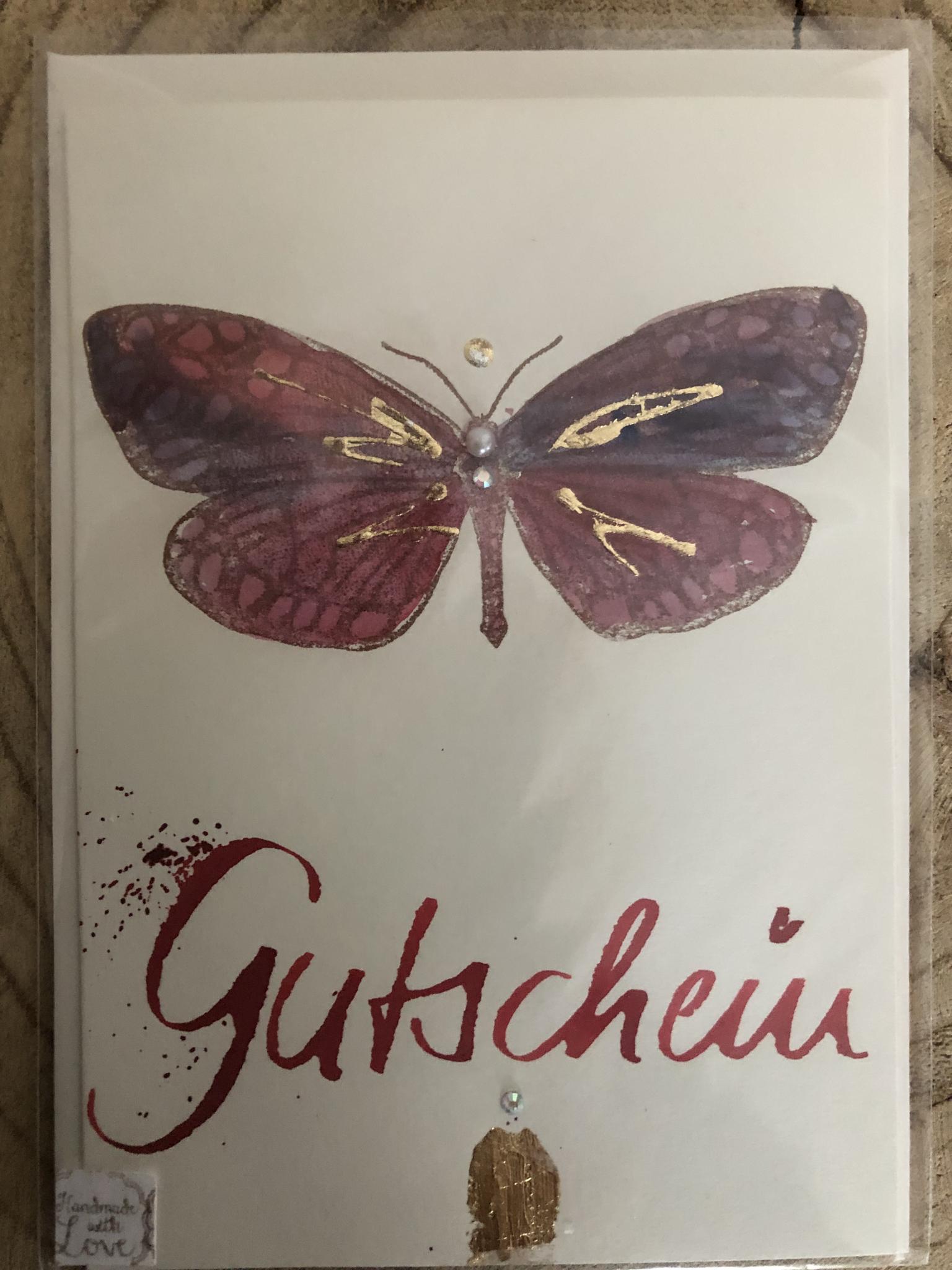Karte - Gutschein mit Schmetterling 00212