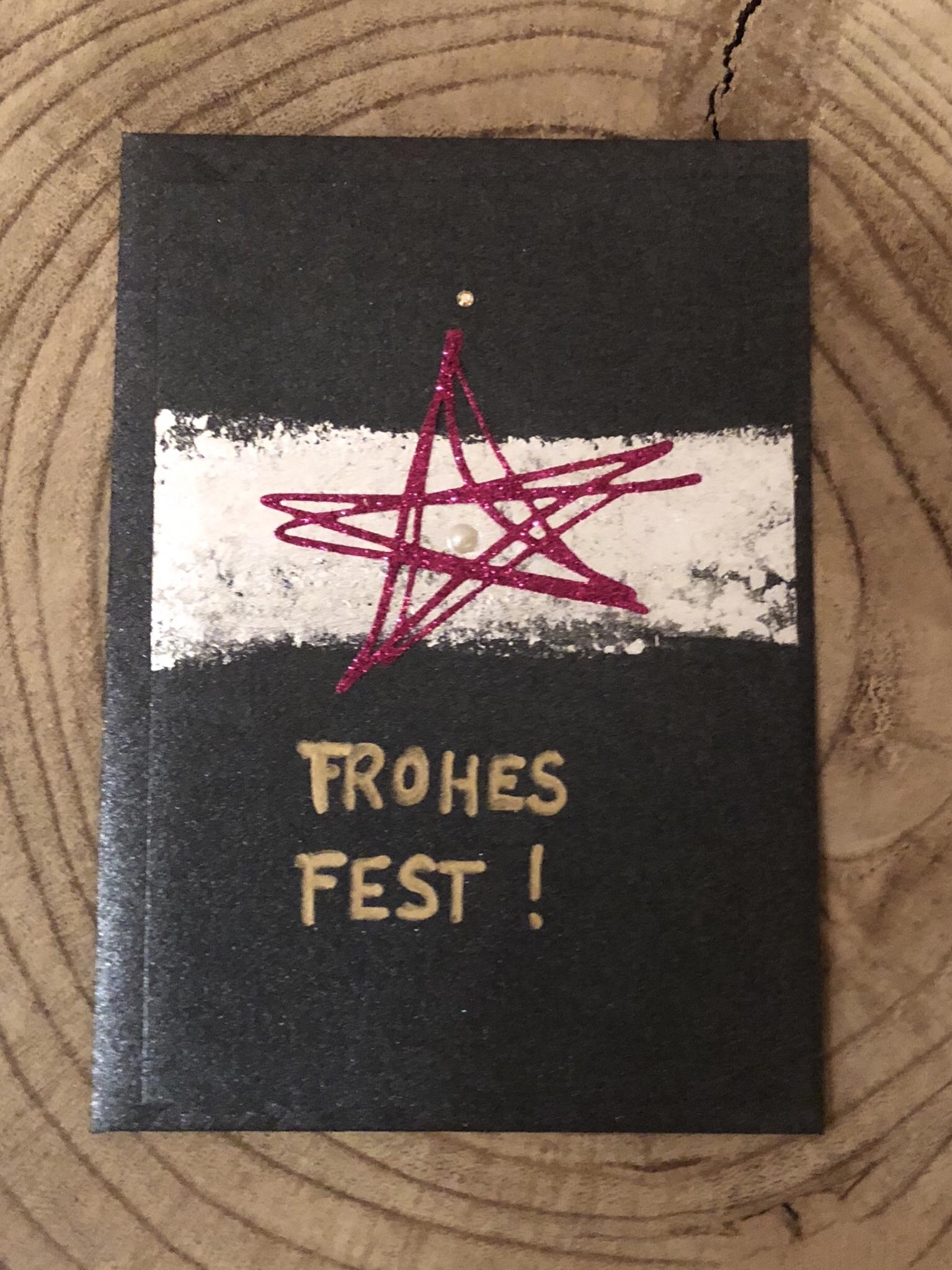 Karte nachtblau metallic - Frohes Fest! 00229