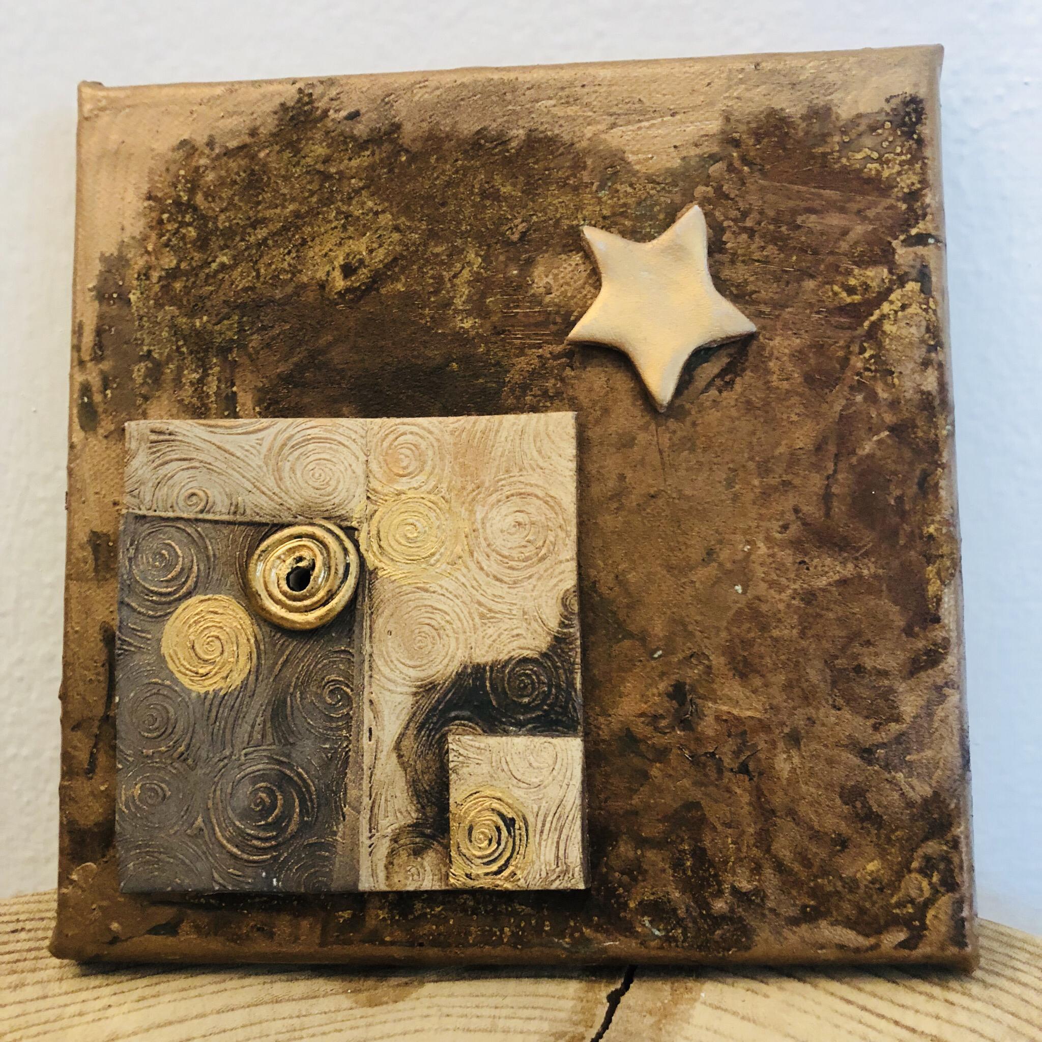 Bild Rostoptik mit Keramikdetails - Stern (nach Weihnachten) abnehmbar ... 00275