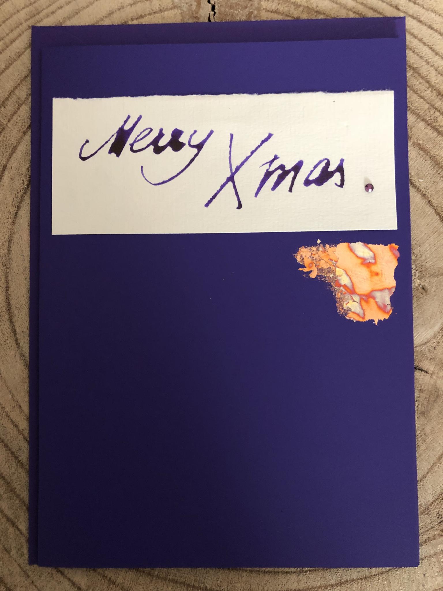 Karte extragroß lila - Merry Xmas 00305