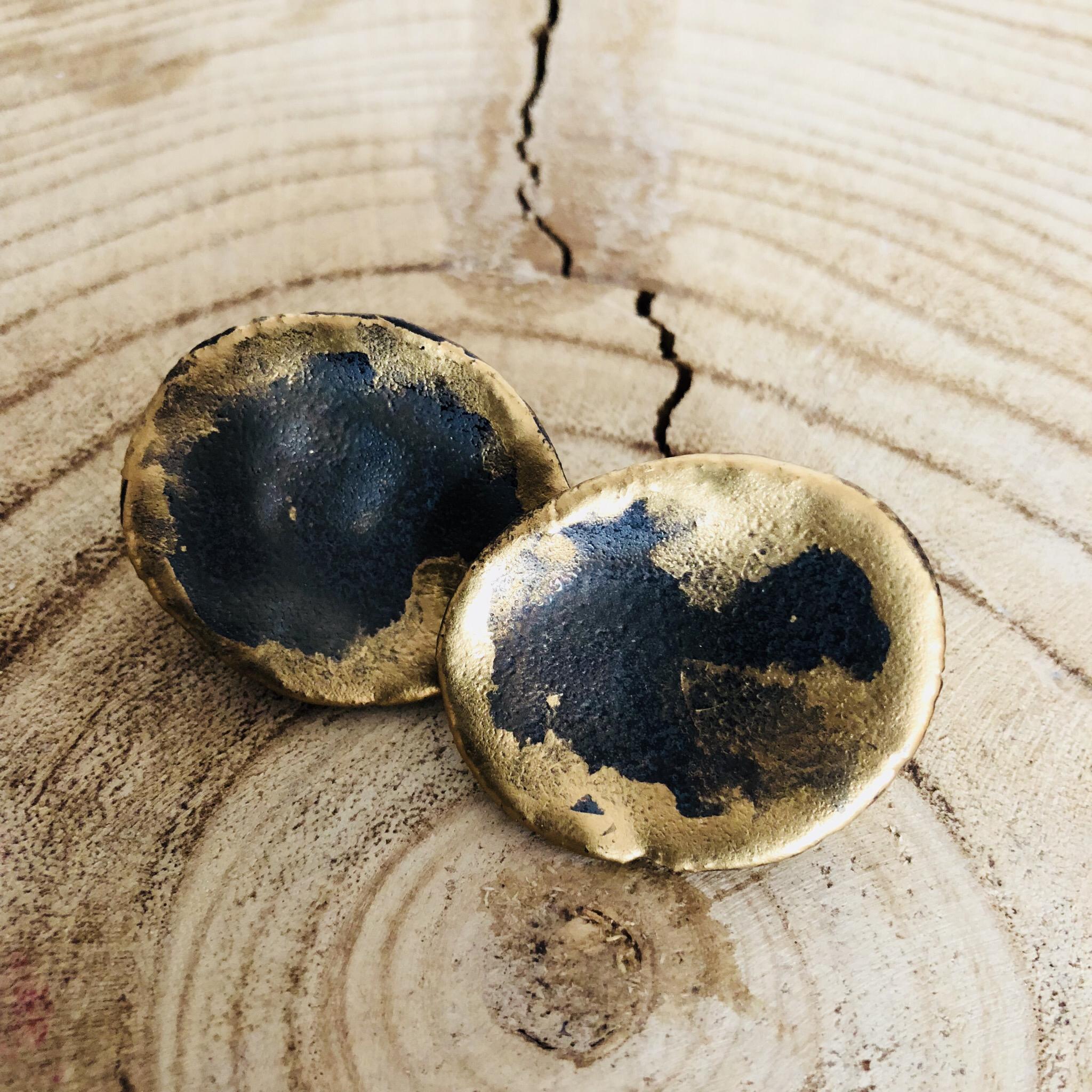 Ohrclips Keramik - glasiert mit Golddetails 00308