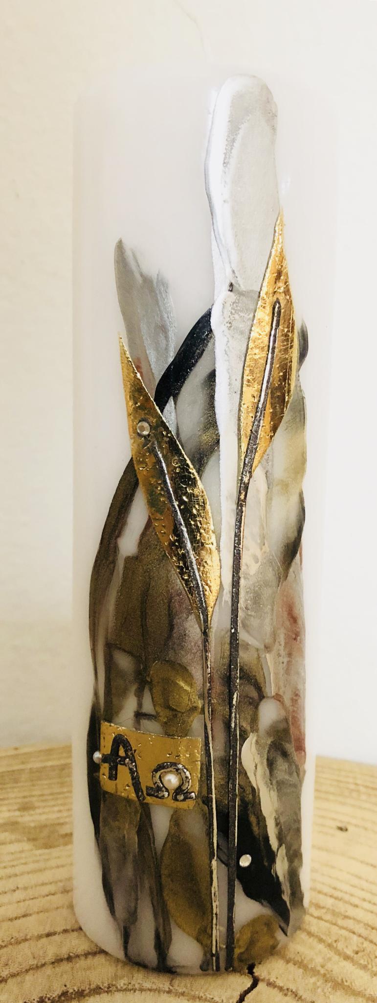 Kerze Trauer weiß/schwarz/gold Encaustic/Blattwachs 00319