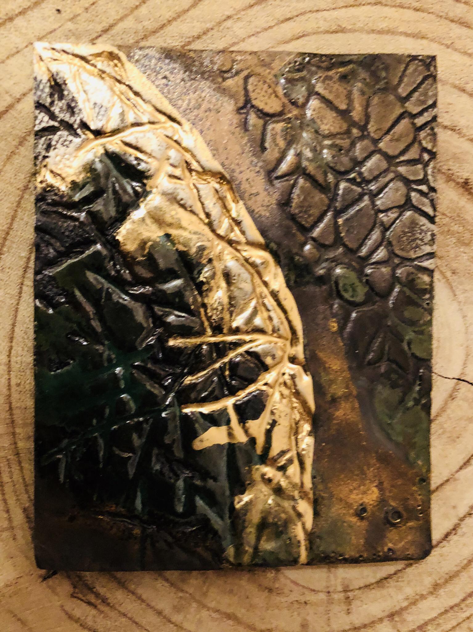 Kerzenteller braun/grün/gold 00325