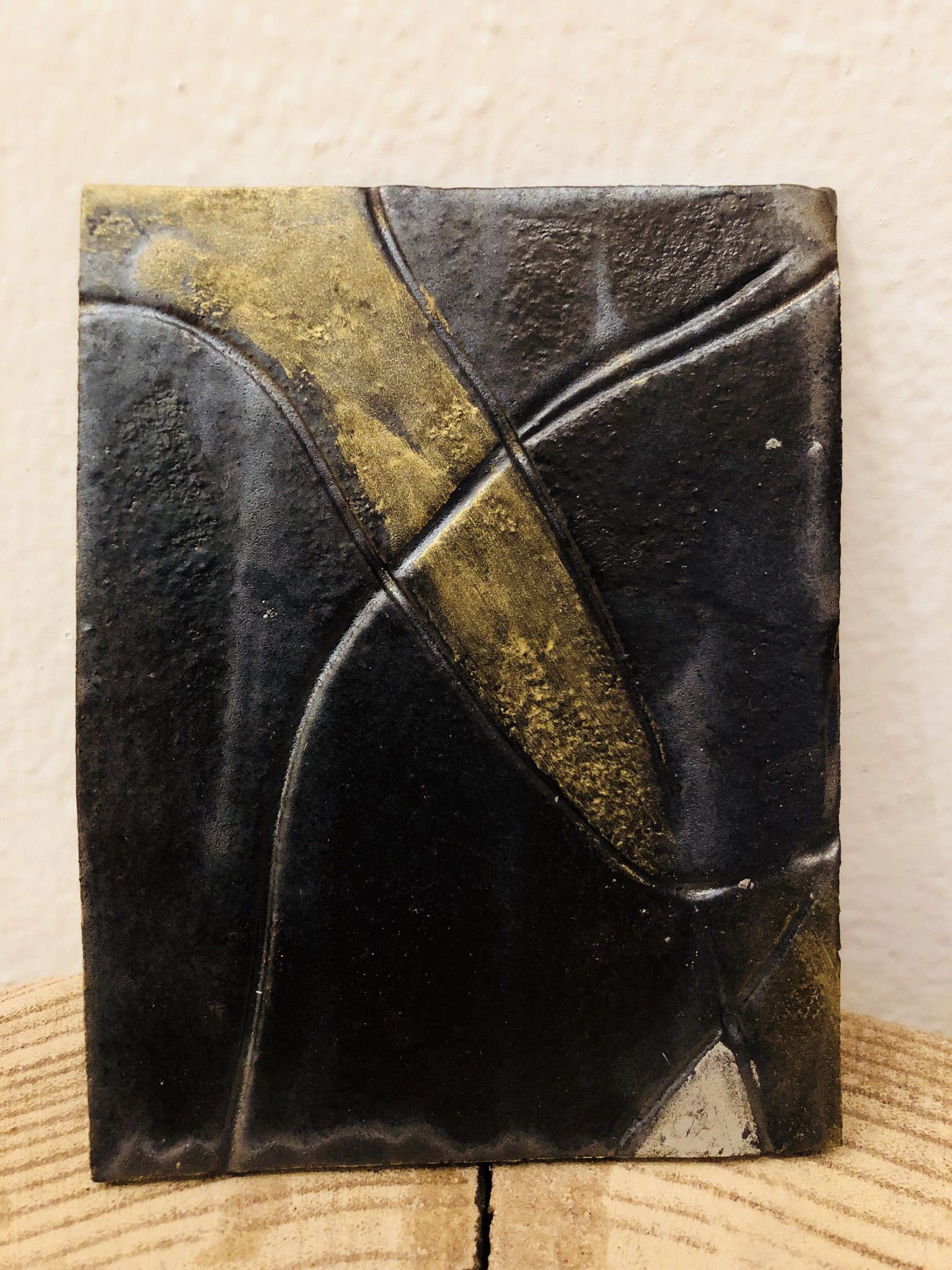 Kerzenteller Rechteck braun/gold/silber 00328