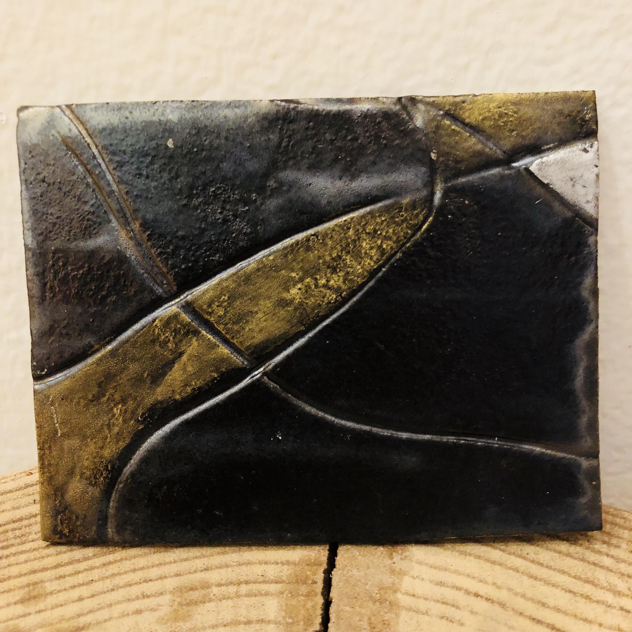 Kerzenteller Rechteck braun/gold/silber