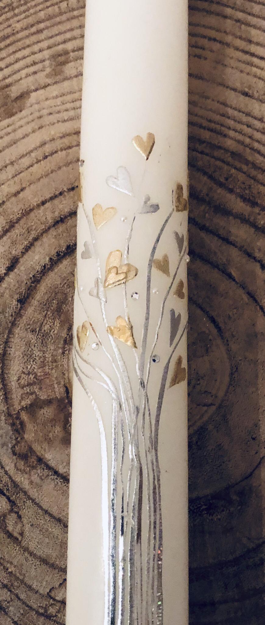Kerze Taufe, weiß getaucht,  Lebensbaum silber/gold, Wachs und Blattmetall, Perlen und Swarovskikristalle - gravierfähig
