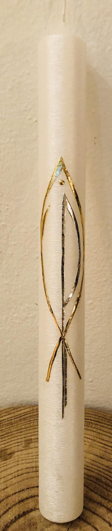 Kerze Taufe, perlmutt geriffelt, mit Fisch und Pax-Zeichen, gold/silber, Wachs und Blattmetall, kann mit weiteren Verzierelementen versehen werden - gravierfähig 25040