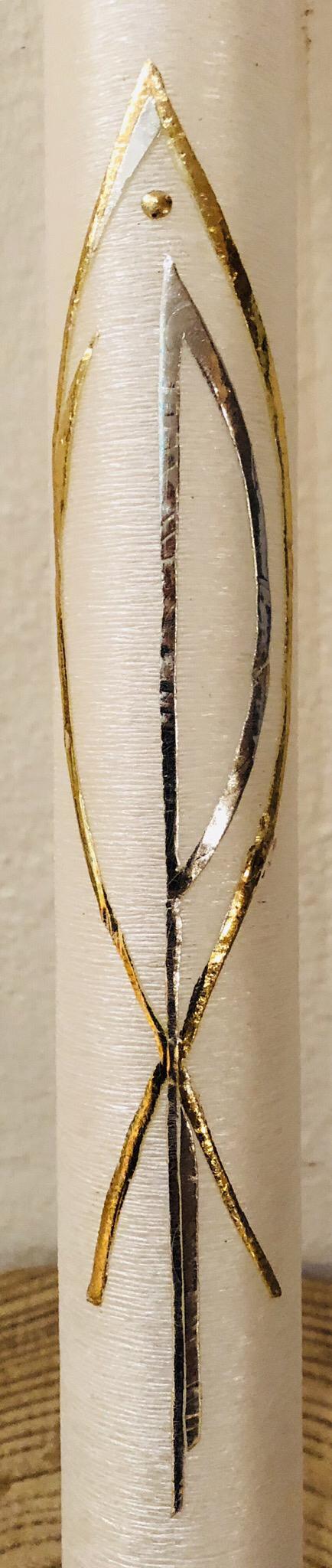 Kerze Taufe, perlmutt geriffelt, mit Fisch und Pax-Zeichen, gold/silber, Wachs und Blattmetall, kann mit weiteren Verzierelementen versehen werden - gravierfähig
