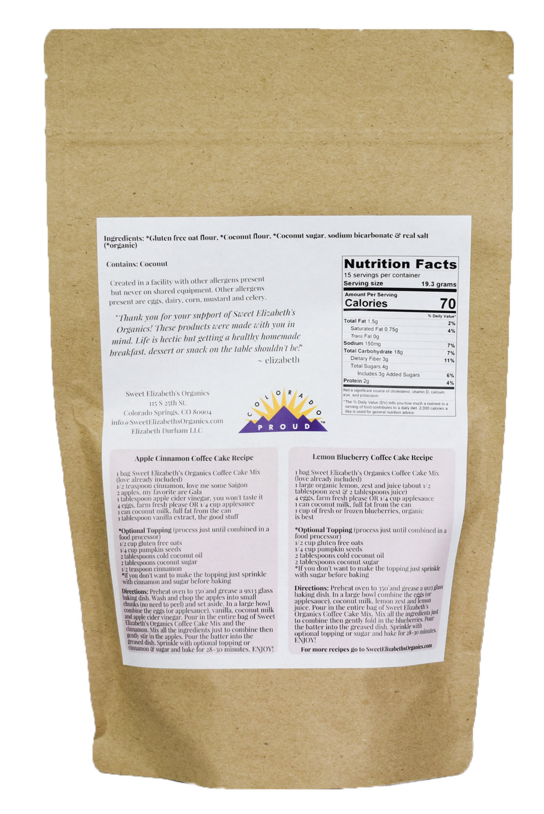 Directions and Nutrition Facts