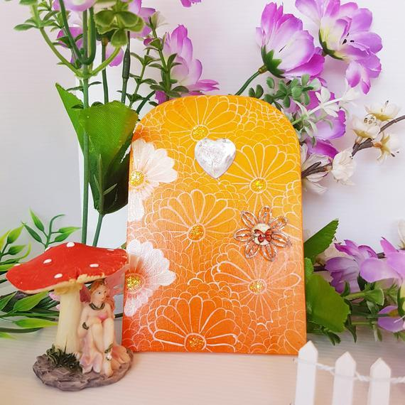 Orange and White Fairy Door 00099