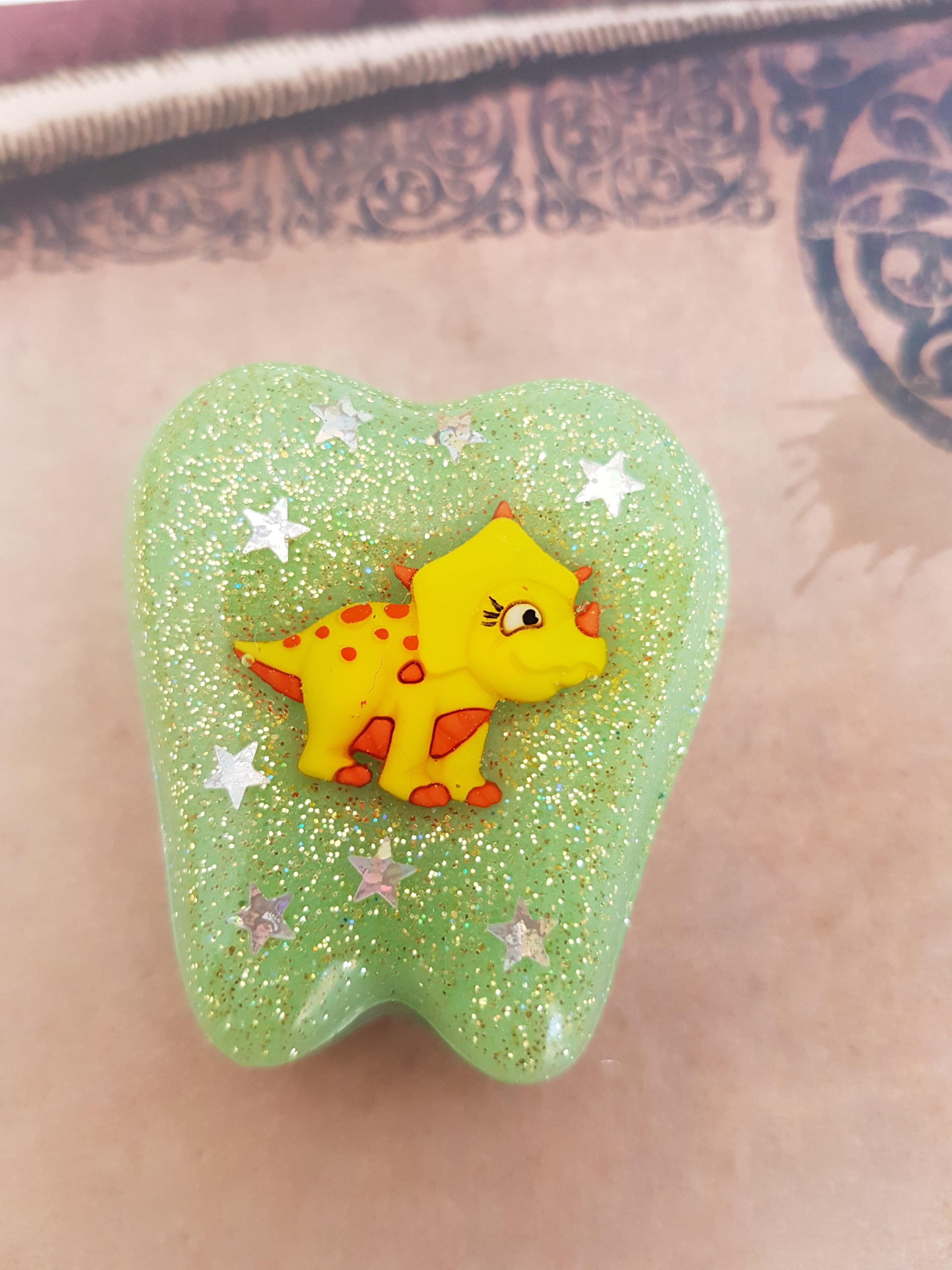 Yellow Dinosaur Tooth Fairy Box 00251
