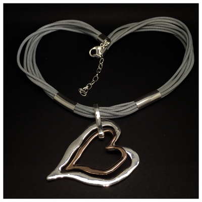 Double Heart (Silver/Rose)
