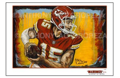 """Mahomes"" by AO - 11x17, Season Opener Art Exhibit - Limited Ed. of 30"