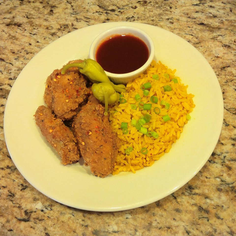 Organic Red Pepper Hot Wings & Rice Combo