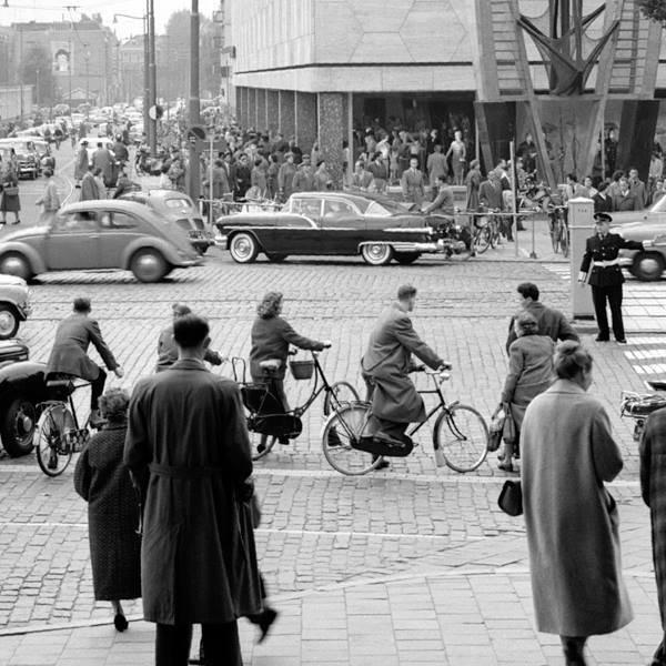 Historisch  Rotterdam, Coolsingel met Bijenkorf 1955, Jan Roovers