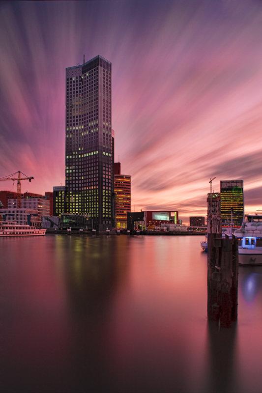 Modern Rotterdam,  Wilhelminakade Kop van Zuid Maastoren Huib Nederhof