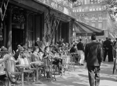 Rest van de wereld, Parijs Champs Elysees jaren 50, terras