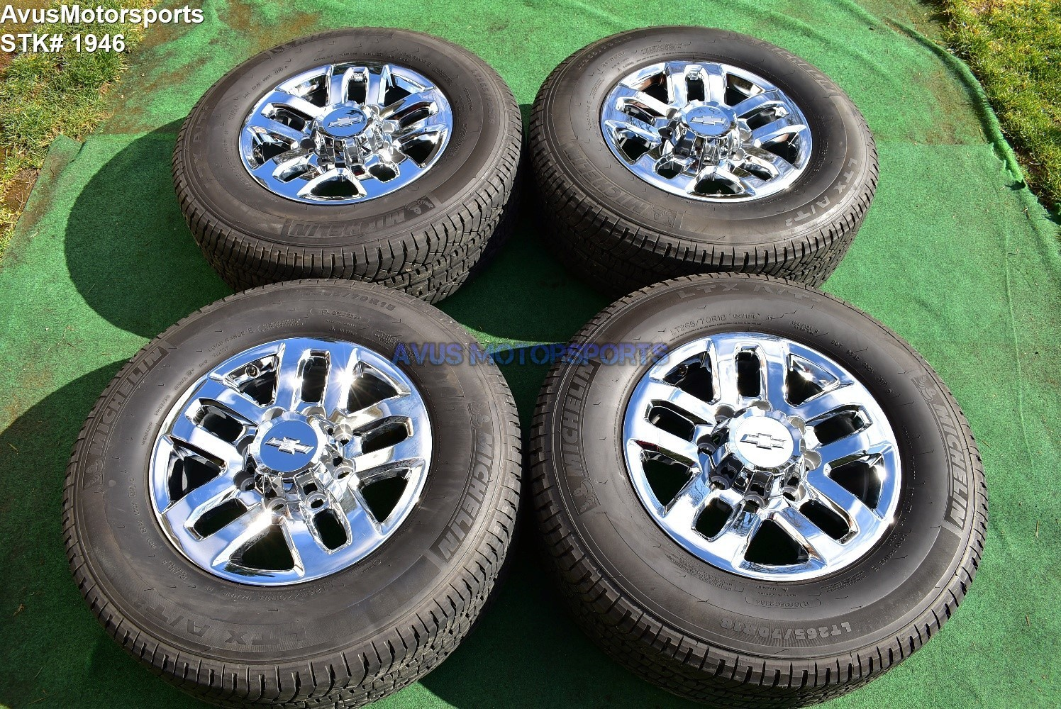 "18"" Chevy Silverado GMC Sierra 2500 3500 OEM WHEELS TIRES  chrome 2018 Michelin"
