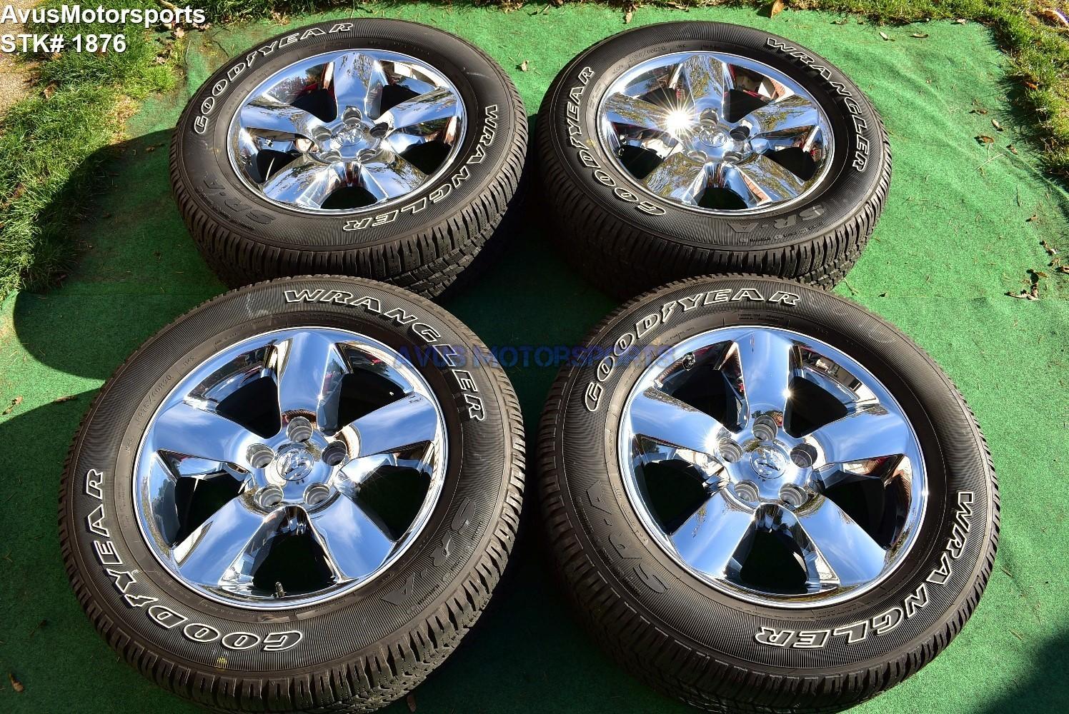 "20"" Dodge Ram 1500 Big Horn OEM Factory Chrome Clad Wheels Tires 2017 2018"