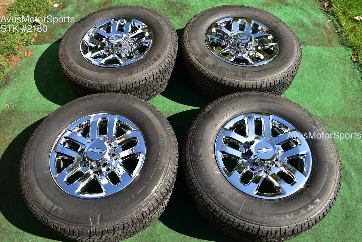 "18"" Chevy Silverado GMC Sierra 2500 3500 OEM WHEELS TIRES  chrome 2019 Michelin"