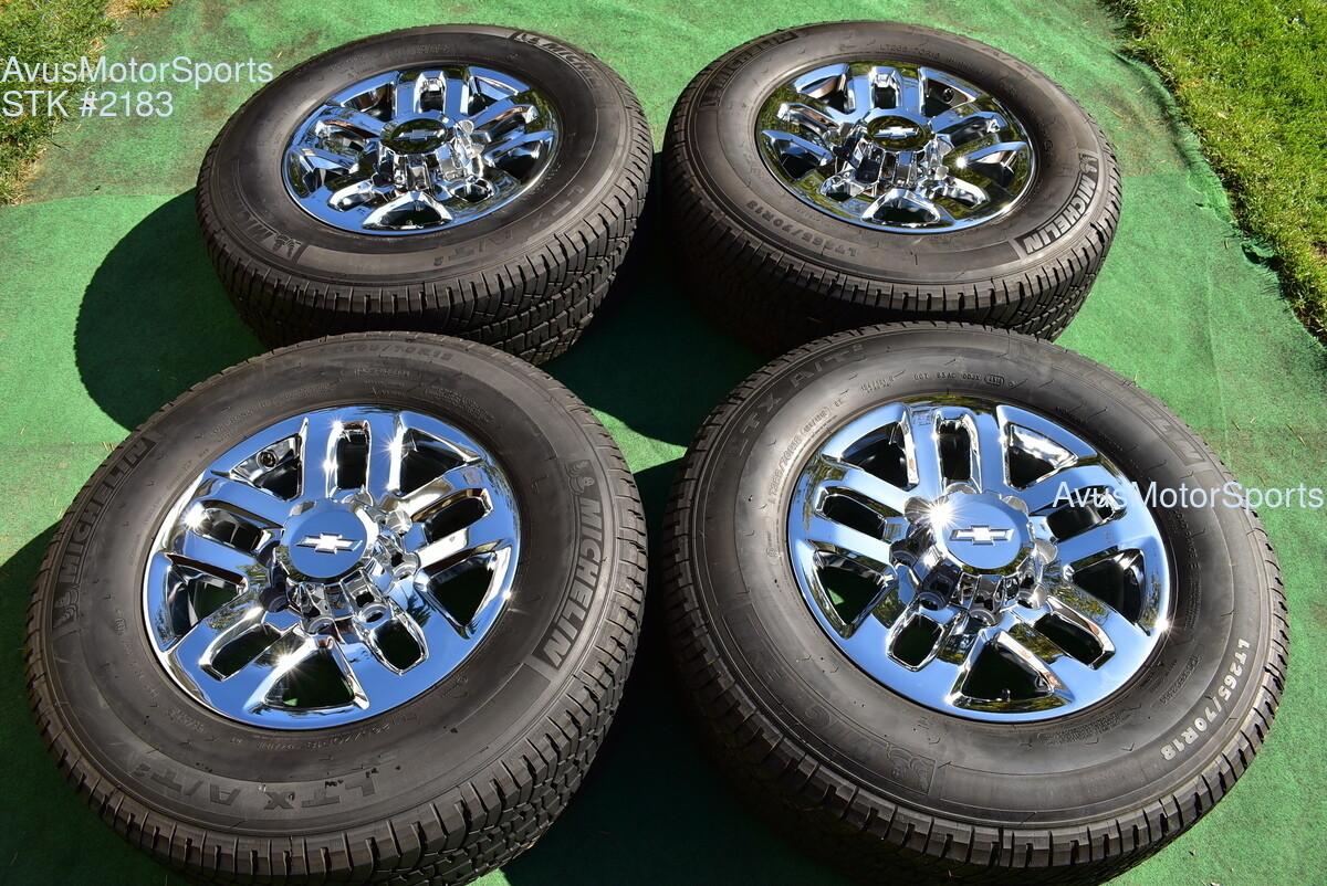 "18"" Chevy Silverado 2500 3500 OEM WHEELS TIRES GMC Sierra chrome 2019 Michelin"