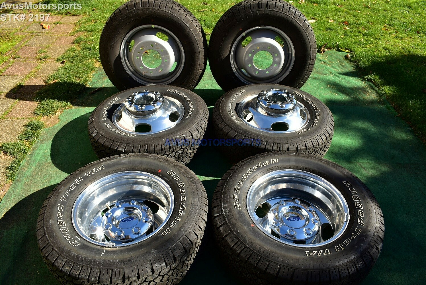 """17"""" Ford F350 Super Duty OEM Factory Alloy Wheels DRW Dually Stock 8x200 + Tires"""