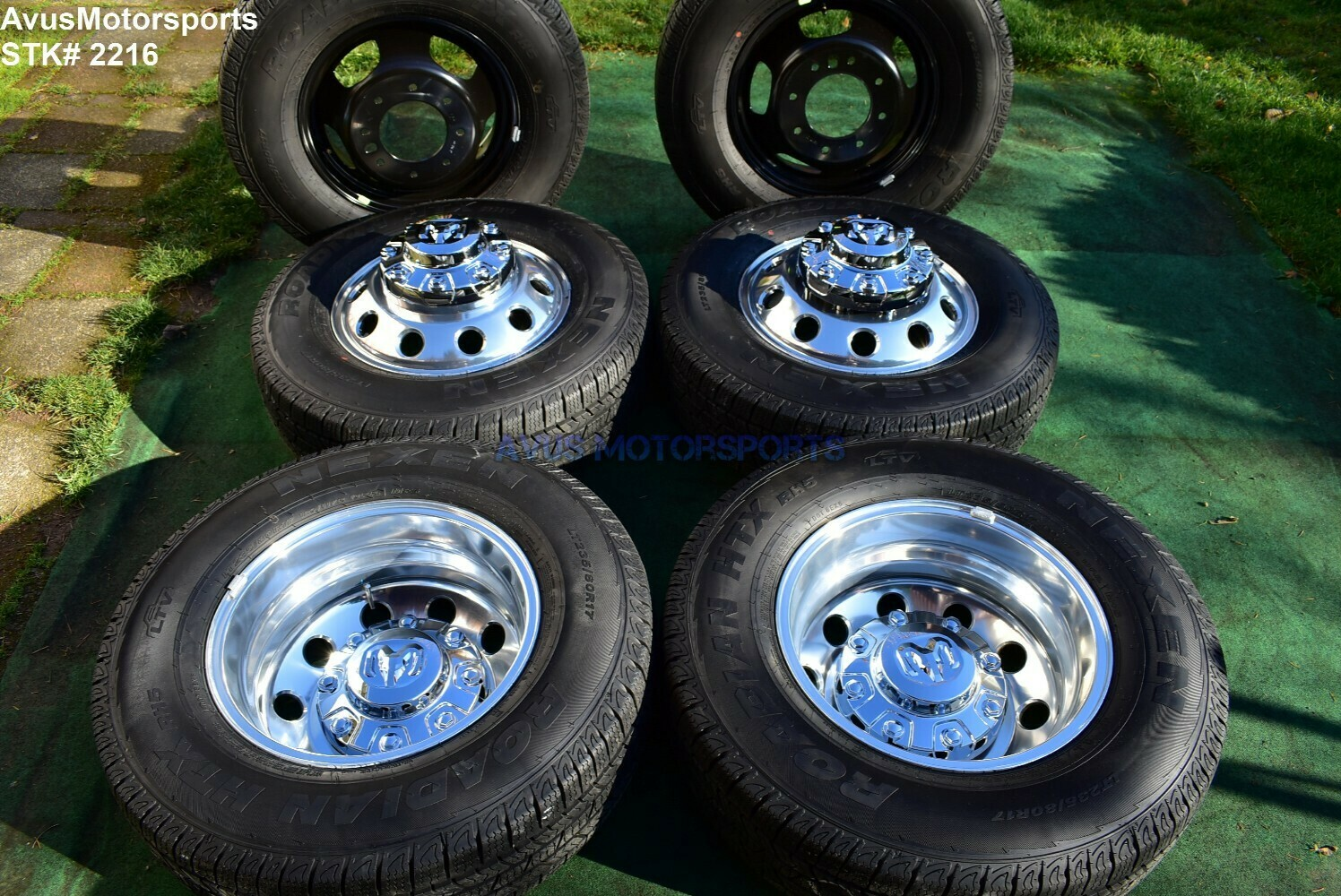 "17"" Dodge Ram 3500 OEM Factory Dually Alloy Wheels & Tires Laramie DRW 2018 2019 8x200 bolt pattern"