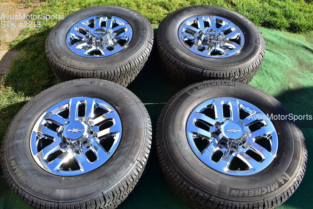 "18"" Chevy Silverado GMC Sierra 2500 3500 OEM WHEELS TIRES  chrome 2019 Michelin"