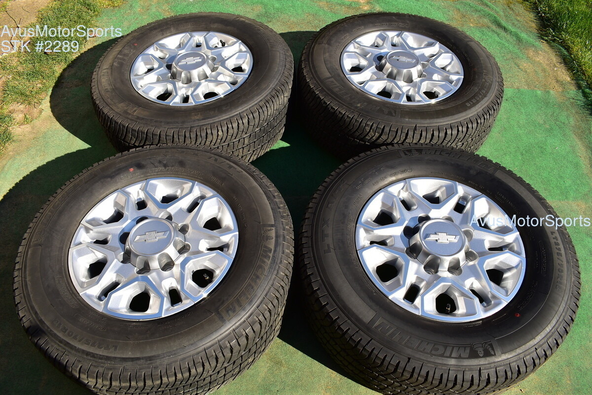 "18"" Chevy Silverado 2500 3500 OEM WHEELS TIRES GMC Sierra 2020 Michelin"