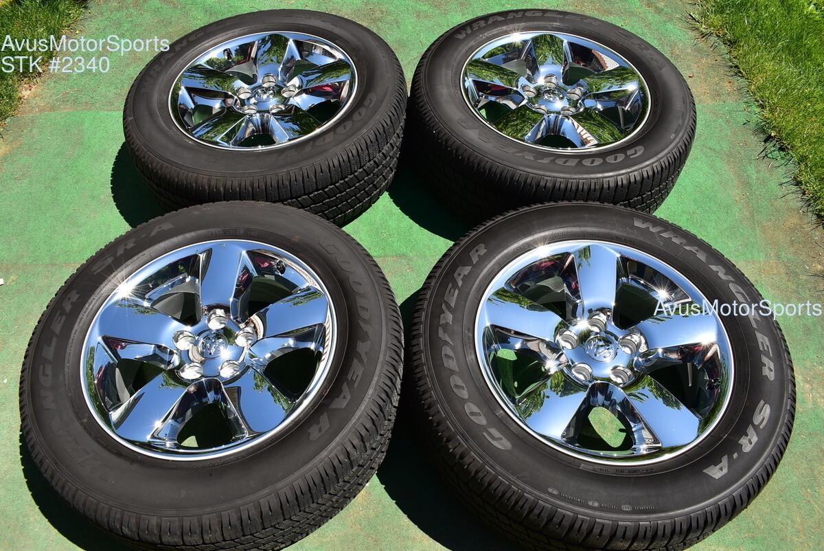"20"" Dodge Ram 1500 Big Horn OEM Factory Chrome Clad Wheels Tires 2019 2018"
