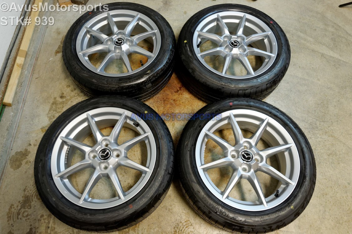 "2016 Mazda MX-5 Miata OEM 16"" Factory Wheels & Yokohama Advan 195/50R16 4x100"