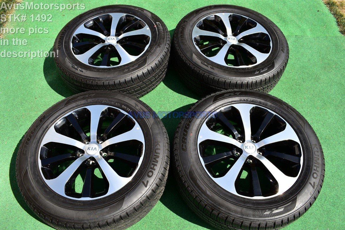 2016 Kia Sorento Black Machined Polished OEM Factory Wheels 2015 2017