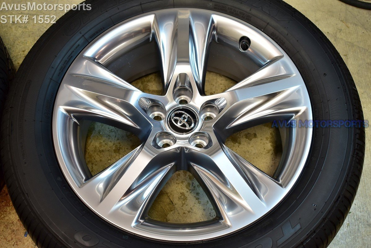 "2017 Toyota Highlander OEM 19"" Wheel Platinum Clad + tire 2016 part# 4260D0E010"
