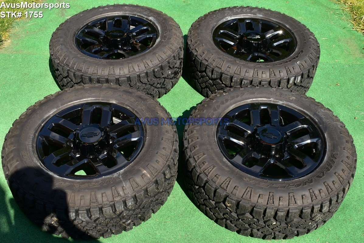 "18"" Chevy Silverado Midnight Ed GMC Sierra 2500 3500 OEM WHEELS TIRES black 2017"