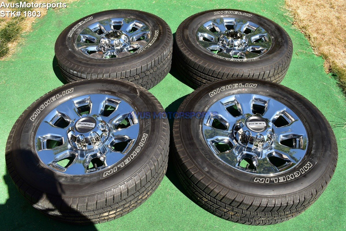 "20"" Ford F350 Super Duty Lariat OEM Factory Chrome PVD Wheels F250 2017 + TPMS"
